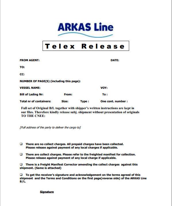 Telex Release Form